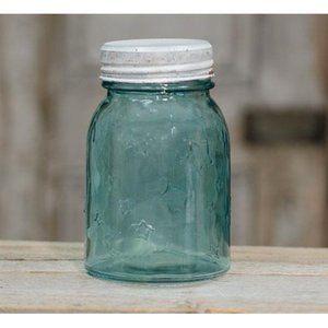 Embossed Stars Blue Pint Mason Jar with Lid